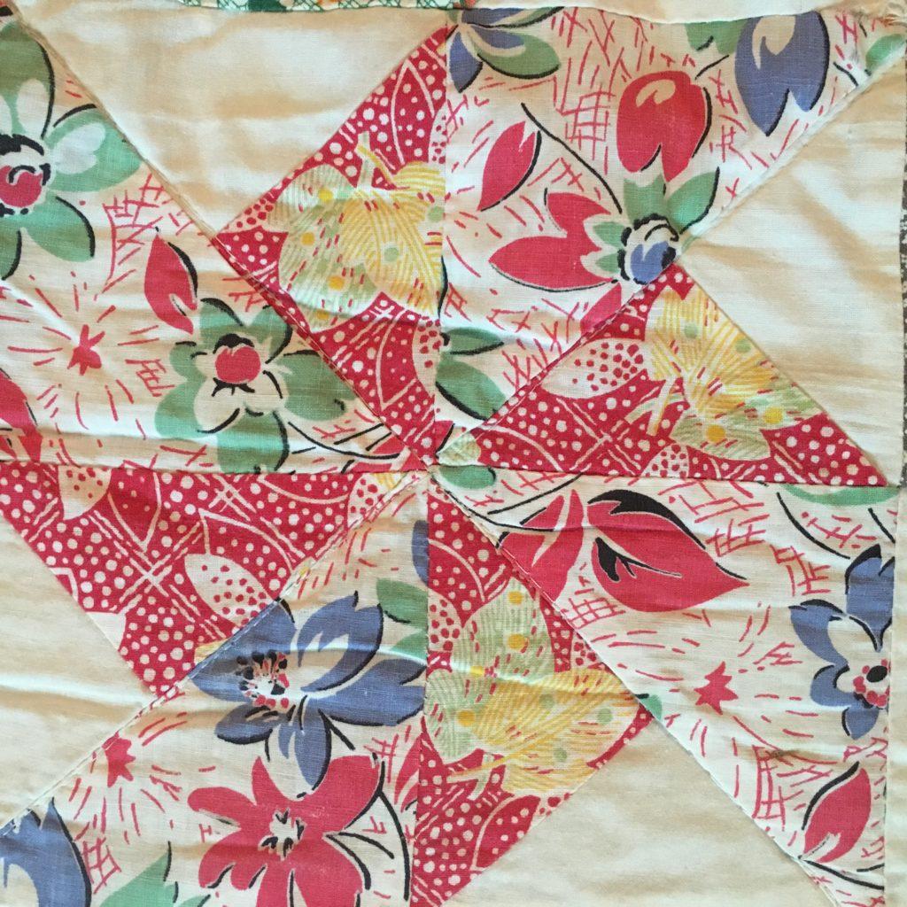 vintage fabrics in double pinwheel quilt block