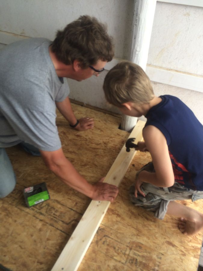 Building the floor of the chicken coop