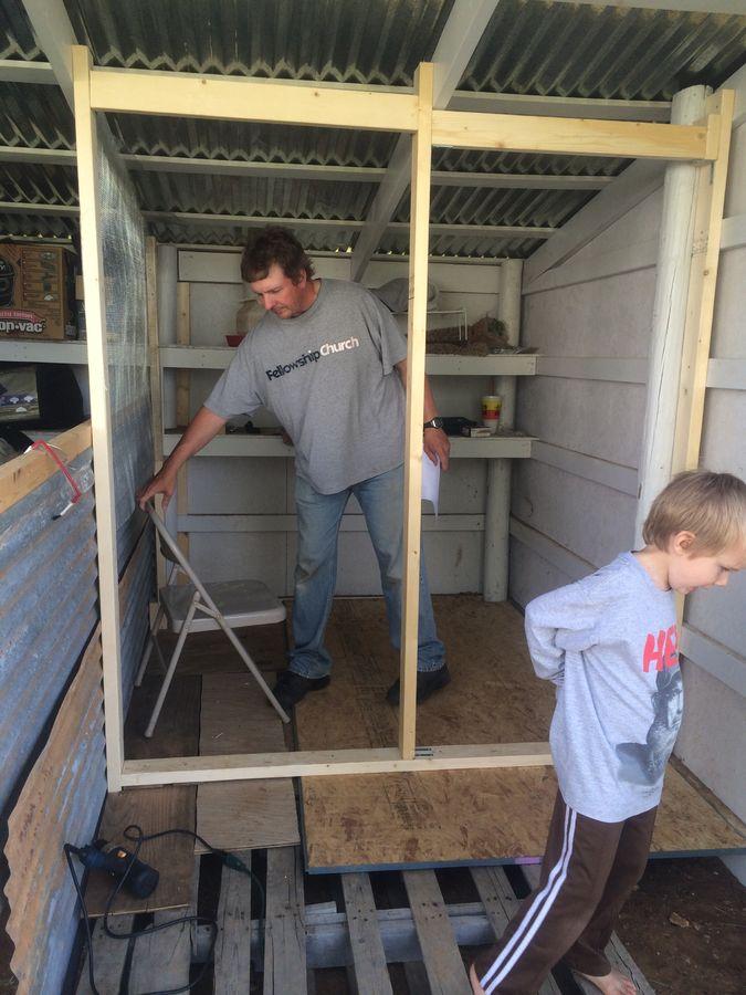 Installing a screen door in the chicken coop