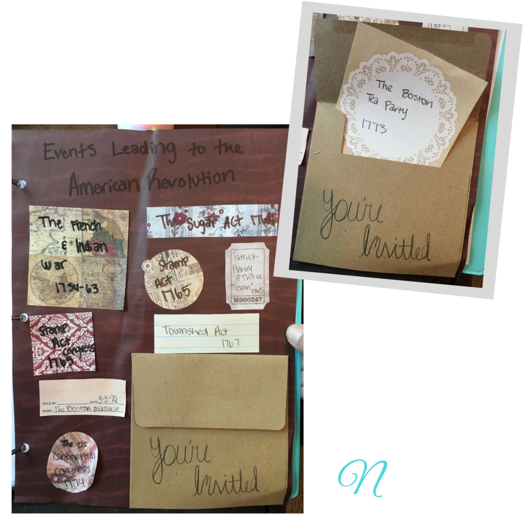 American Revolution notebooking page