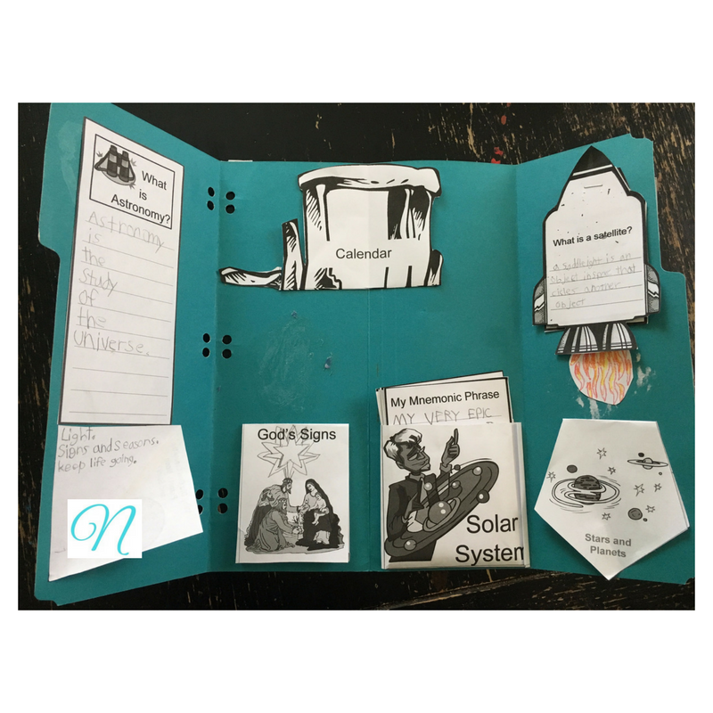 astronomy inside lapbook
