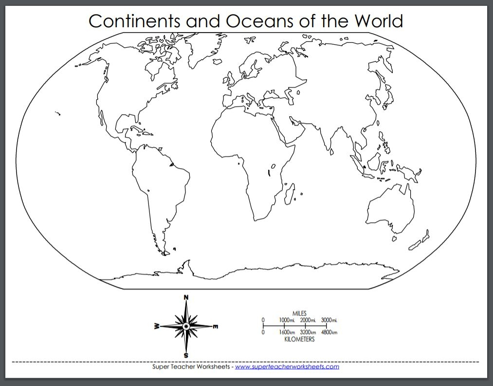 printable map continents and oceans super teacher worksheets